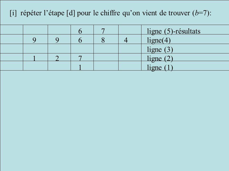 [i] répéter l'étape [d] pour le chiffre qu'on vient de trouver (b=7):